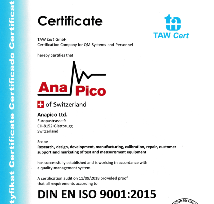 Anapico Ltd. receives ISO 9001:2015 certificate